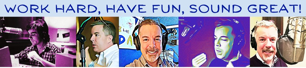 The words Work Hard, Have Fun, Sound Great! placed above stylized images of Peter behind the mic.